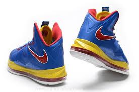 91 66 Blue Gold Red Basketball Nike Lebron 10 Shoes Jordan Mn