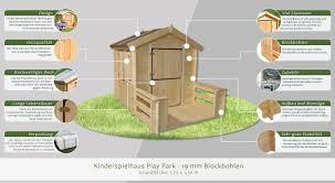Kinder Spielhaus Play Park 175 X 130 Meter Aus 19mm Blockbohlen