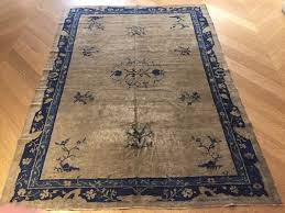 antique chinese blue white rug 1870s 2