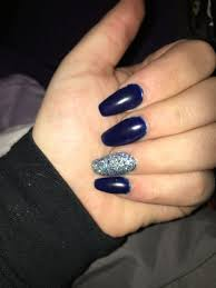 Navy Blue Nail Designs For Prom Navy Blue And Silver Coffin Shaped Nails For Prom Blue