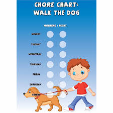 Dog Walking Chart Boys Chore Chart Walk The Dog