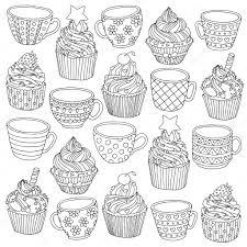 ベクトル手描きカップのカップケーキは大人の塗り絵のイラストアンチ
