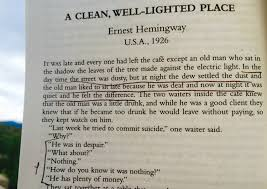 hemingway the drugstore notebook always a pleasure to re this story one of my all time favorites dialogue doesn t get better than this