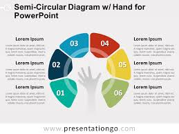 Semi Circular Diagram With Hand For Powerpoint