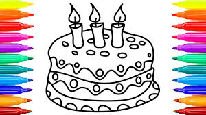 Small Picture Cake Coloring Pages with Beautifu Candles Videos for Kids with