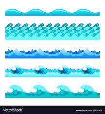 Blue Footer Design Seamless Blue Water Wave Bands Set For Footers