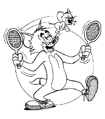 Tennis Kleurplaten Tom Jerry Tennis