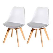2x Esszimmerstuhl Hwc E53 Stuhl Küchenstuhl Retro Design Weißgrau Stoff Helle Beine