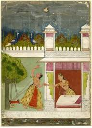 an ilration of madhumadhavi ragini from a set of ragamala paintings a woman being pulled indoors by another as the monsoon rains begin to fall