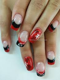 Eye Candy Nails & Training - Red black and white nail art over gel ...