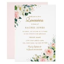 Quincenera Invitations Floral Blush Pink Gold Quinceanera Invitation