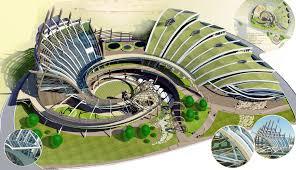 Вид главного здания этнографического центра с юго запада Дизайн  Дизайн концепция этнографического парка коренных народов дальнего Востока на острове Попова Дипломный проект специалиста дизайнера архитектурной среды