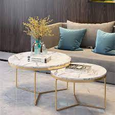 Modern round coffee table with faux marble top: Amazon Com 2 Piece Modern Round Coffee Table Simplistic End Table Decor Couch Bedside For Home Living Room Marble Metal Base Nesting Furniture Decor