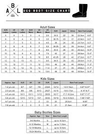 Ugg Boot Size Chart Aussie Bush Leather