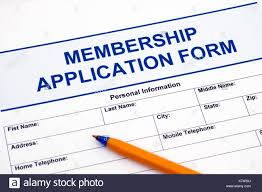 Application For Membership Membership Application Form With Ballpoint Pen Stock Photo