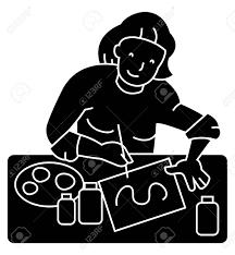 Artist Illustrator Woman Icon Vector Illustration Black Sign
