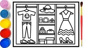 Vẽ tranh tủ đựng thời trang   Dạy bé vẽ   Dạy bé tô màu   Fashion Closet  Drawing and Coloring - YouTube