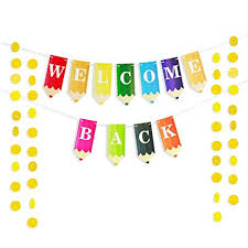 Amazon Com Welcome Back To School Students Banner Pencil