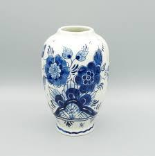 Chinoiserie Design On Pottery And Porcelain Delft Blue Vase H14cm Handpainted Dutch Royal Delftware