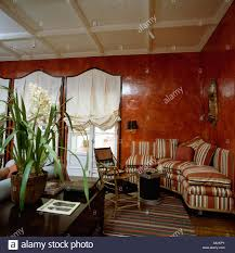 Terracotta Living Room Lacquered Terracotta Walls In Eighties Livingroom With White