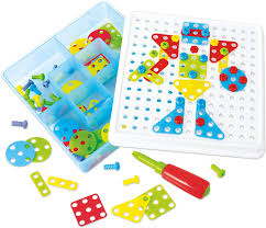 Drill N Design Mosaic Art Playgo Build Educational Construction And Mosaic Stem Pieces Preschool Engineering Toy Building Blocks Board Game For 3 4 5 6 Year O