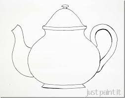Small Picture Teapot cups pattern templates for painting embroidery coloring