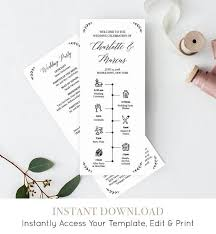 Wedding Timeline Program Template Order Of Events Ceremony Program 100 Editable Printable Instant Download Templett Diy 034 204wp