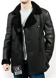 men s black double ted shearling sheepskin jacket pea coat