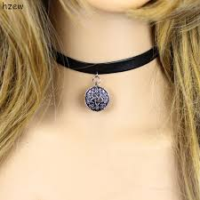 black leather choker necklace game witcher 3 yennefer medallion for women girls jewelry fit style