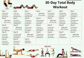 30 Day Total Body Workout Picture Chart To Print Out Go Go