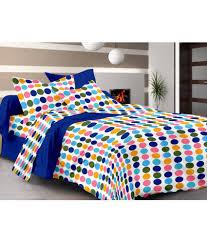 cenizas 100 cotton multicolour polka dots double bedsheet