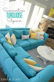 Switching Things Up For Summer With a Turquoise Slipcover! - Tatertots and  Jello