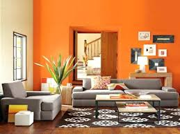 wall paint ideas for living room captivating orange color theme with grey contemporary sofa design cheerful small