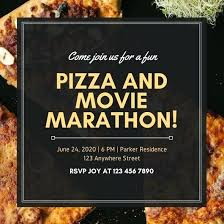 Pizza Party Invitation Templates Black And Yellow Bordered Vintage Pizza Party Invitation Free