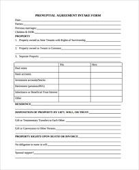 Free 6 Sample Prenuptial Agreement Forms In Pdf Word
