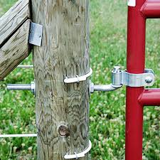 hardware kit includes the upper lower hinges and the mounting hardware to secure your gate to your end post the hinge bolts go through the posts and