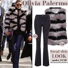 olivia palermo affordable fur striped blush and black coat and flared jeans pfw style for less