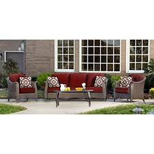 hanover outdoor furniture gramercy 4piece wicker patio seating set crimson red hanover patio furniture f14