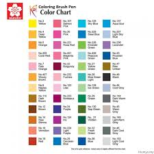 Sakura Poster Color Chart Sakura Koi Coloring Brush Pen Available In 48 Colours List 2 3