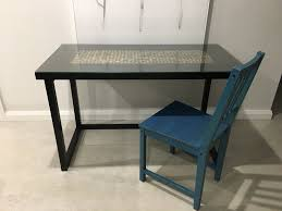 black glass top desk hall table with ikea stefan blue chair 1 of 4
