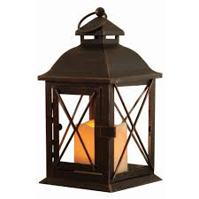 outdoor lantern lighting. Antique Brown LED Lantern With Timer Candle Outdoor Lighting