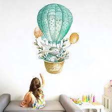 watercolor green rabbit hot air balloon