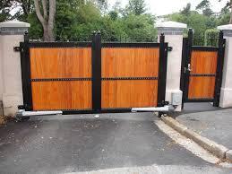 steel framed gates gate clad in hardwood with built in personel gate ashburton devon