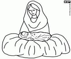Kleurplaat Maagd Maria En Jezus In De Kribbe Kleurplaten
