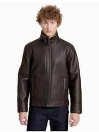 mens outerwear calvin klein pebble faux shearling jacket hertiage brown