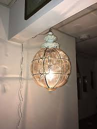 vintage mid century amber caged glass swag light shade pendant bubble glass