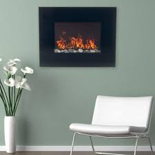 northwest 26 in glass panel wall mount electric fireplace and remote in black