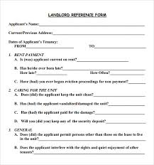 Landlord Reference Form Template 16 Landlord Reference Letter ...