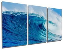 blue ocean wave metal print wall art 3