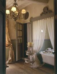 french house interior. curtains works well in this french bathroom house interior